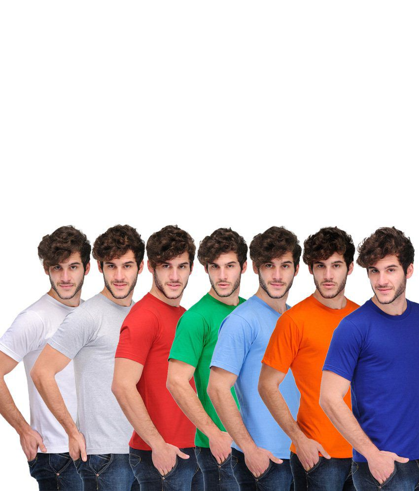 TSX Combo Of 7 Multi-Coloured Basic T Shirts