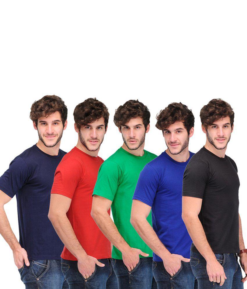 TSX Soft Combo Of 5 Multi-Coloured Basic T Shirts