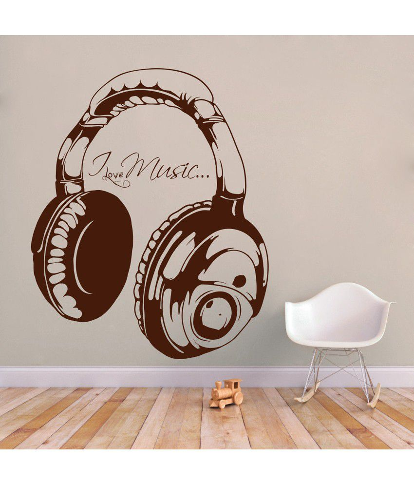 Decor Kafe Brown Decal Style I Love Music Wall Sticker