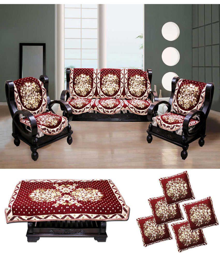Fk Golden Maroon Fl Velvet Sofa Covers Table Cover Cushion Set