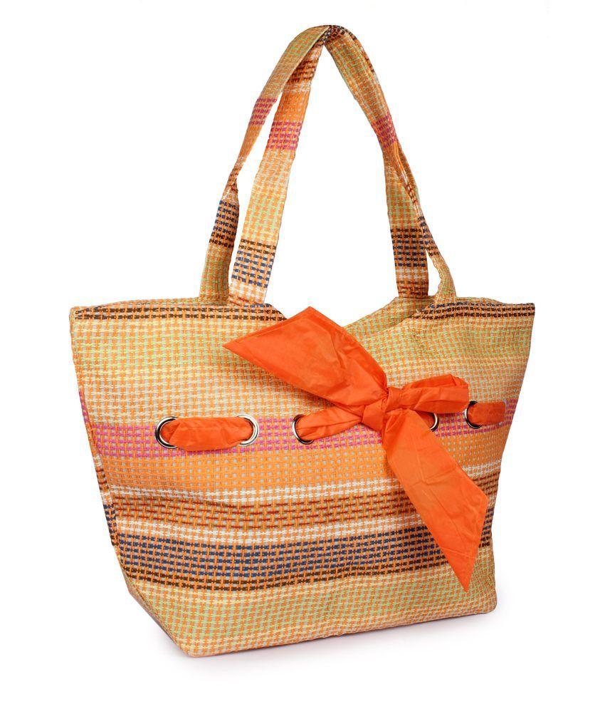 Stylz Orange Jute Shoulder Bags