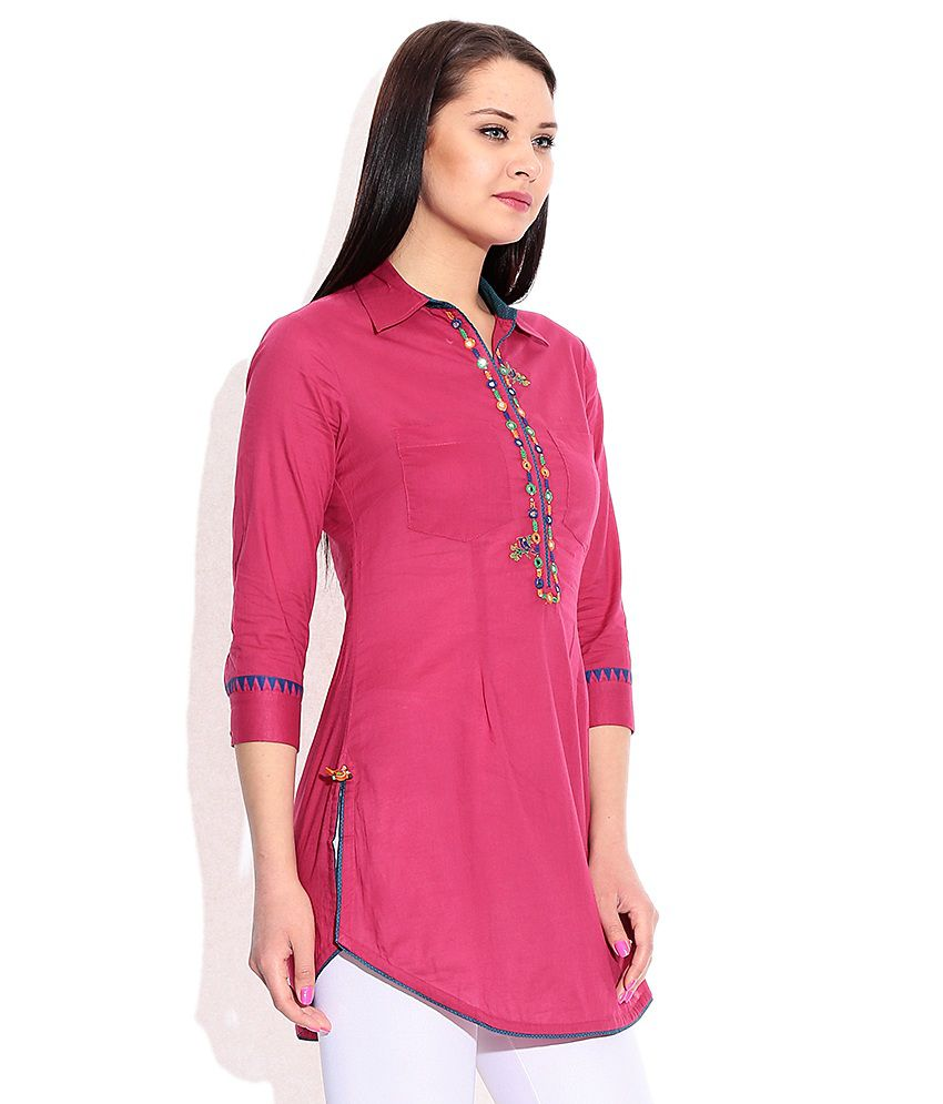 Biba Pink Cotton Tunics - Buy Biba Pink Cotton Tunics Online at ...