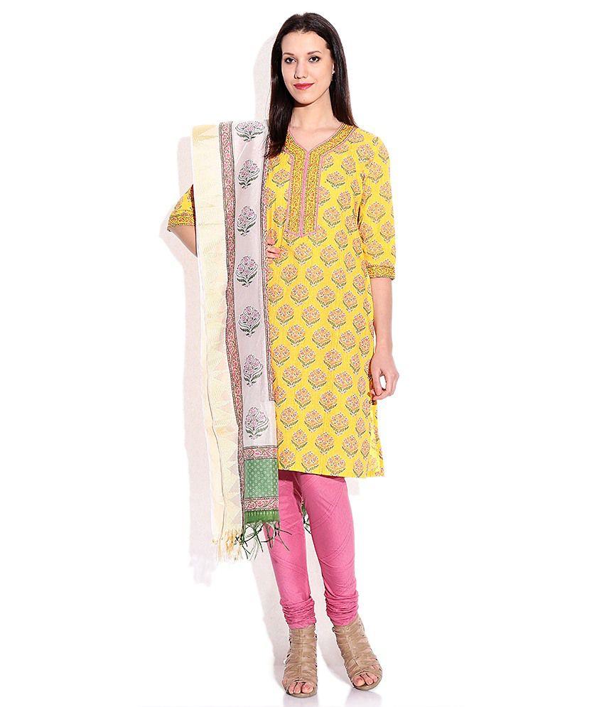 Biba Yellow Salwar Kurta With Dupatta