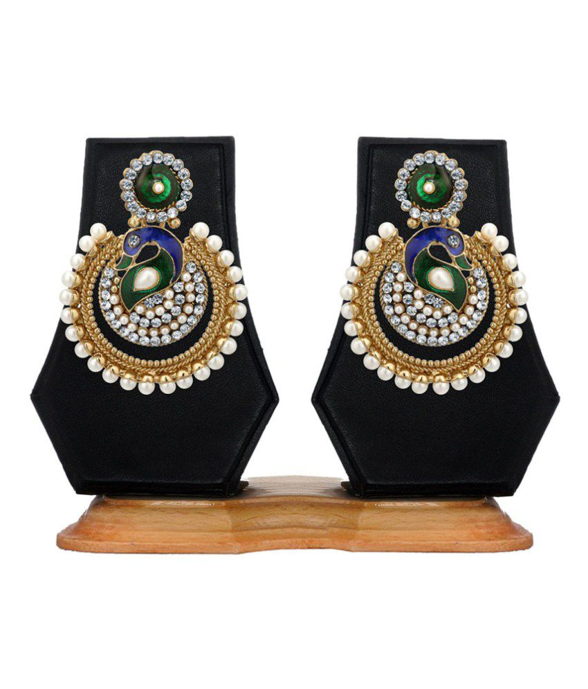 Jewels Galaxy Meenakari Mayur Design Pearls Embedded Earrings
