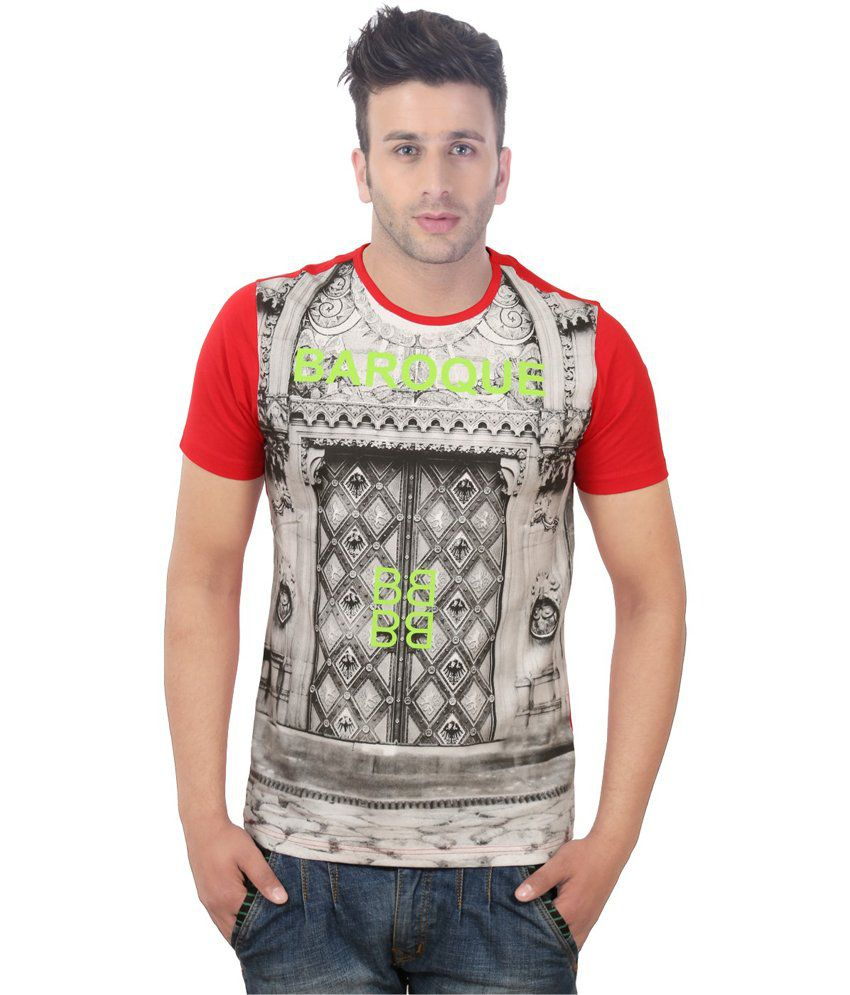 Sportking Red Cotton Printed Round Neck T-Shirt
