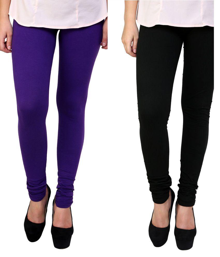 Anekaant Women's Cotton Lycra Combo Leggings Pack of Two - Purple & Black