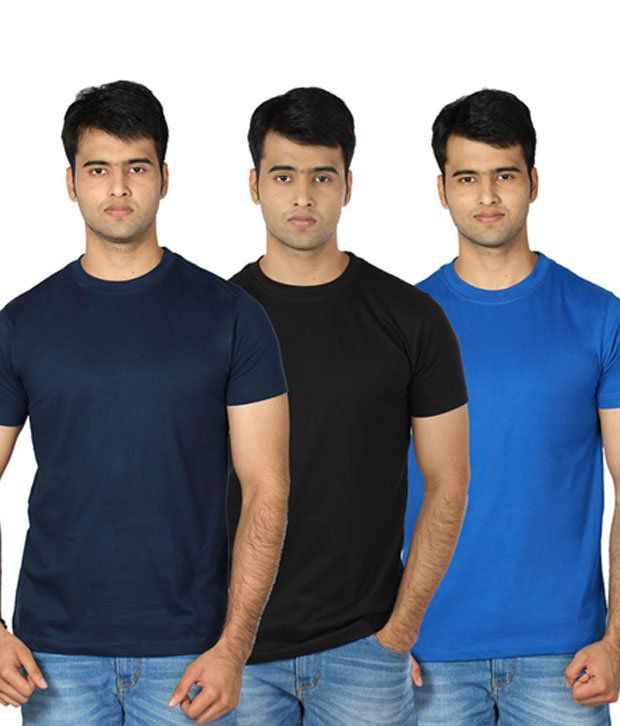 Billy Buddha Navy Round Neck T Shirt - Pack Of 3