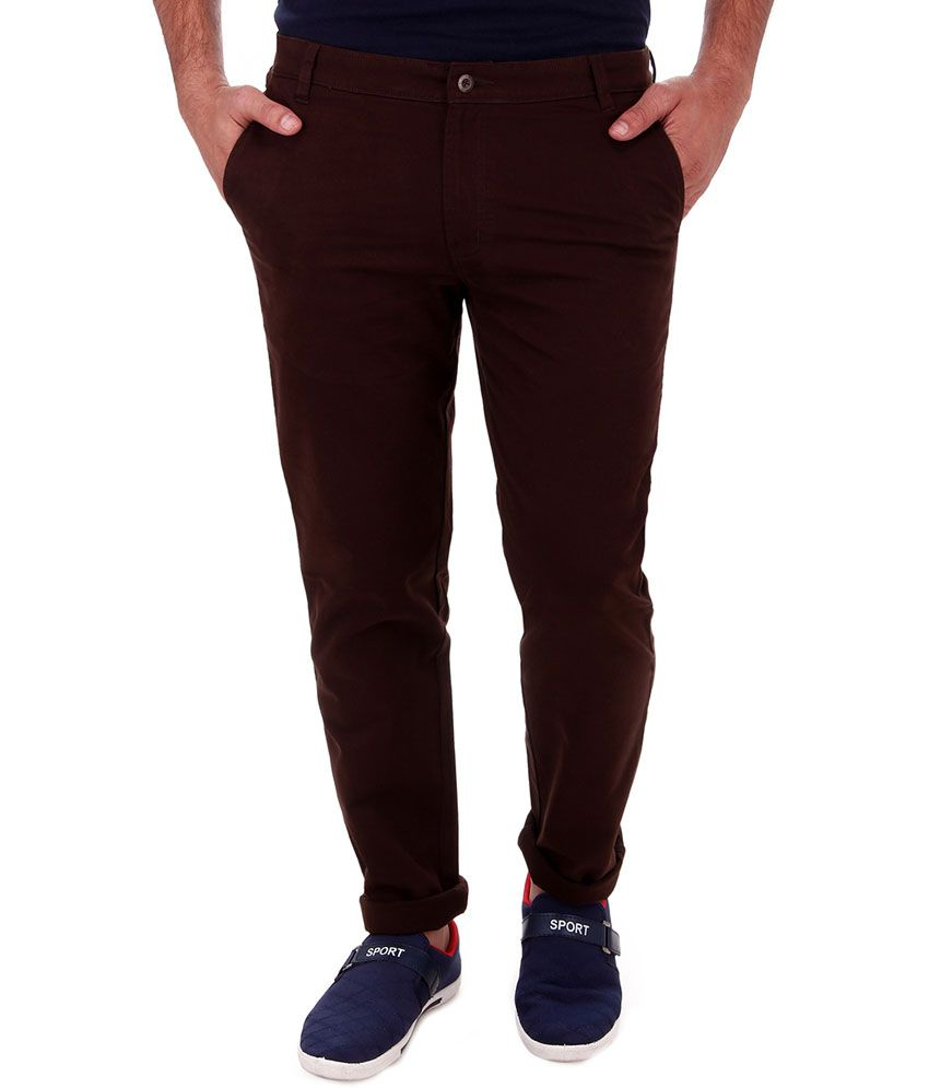 Cobb Brown Cotton Slim Fit Men Casual Chinos