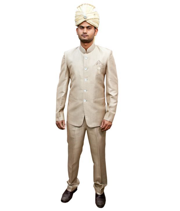 LC Creation Beige Poly Blend Suits For Men