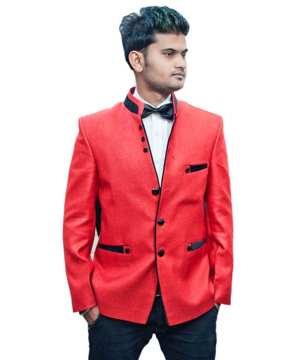 LC Creation Red Cotton Blend Blazers For Men