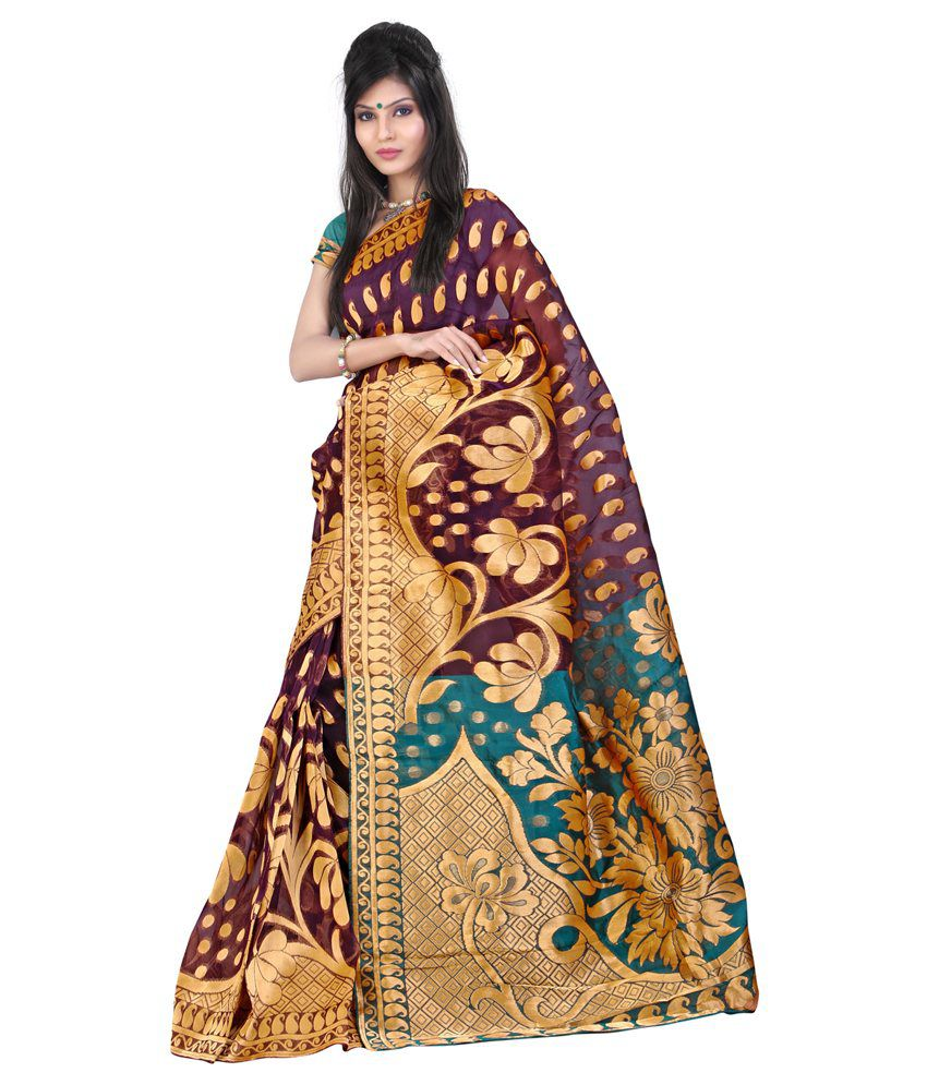 Lookslady Purple Banarasi Silk Saree