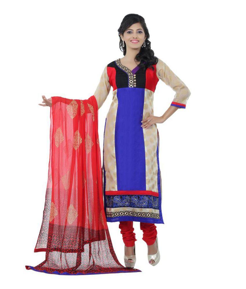 Sanskruti Creations Blue Cotton Embroidered Salwar Suit