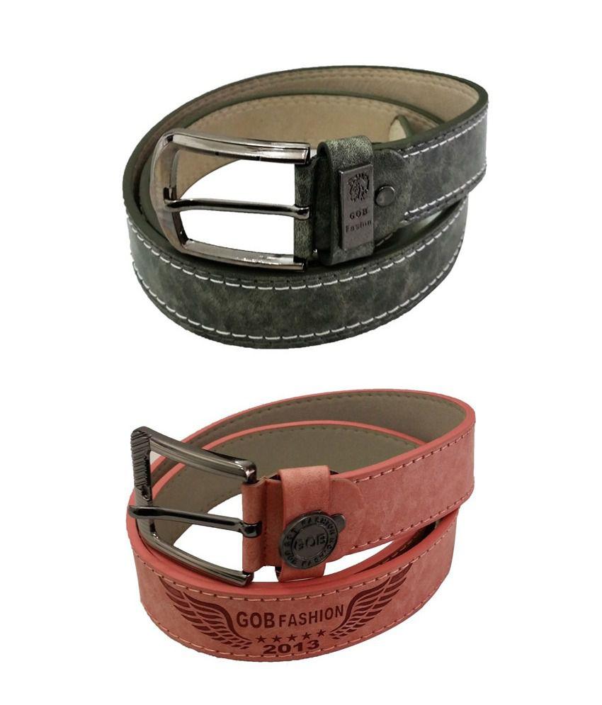 Verceys Non Leather Casual Belt For Men - Set of 2