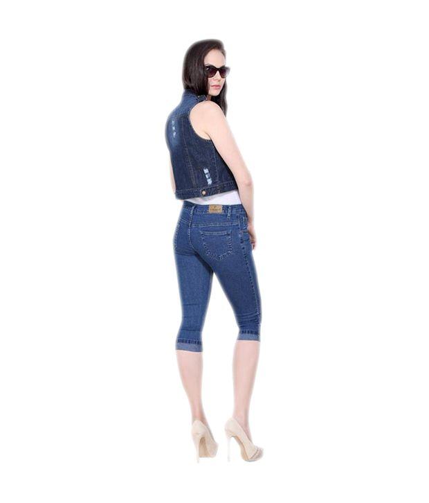 Buy Airways Jeans Blue Denim Capris Online at Best Prices in India ...