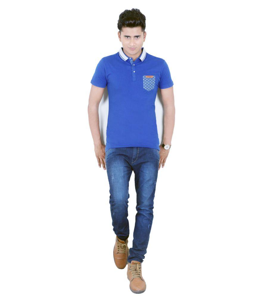 BUFF Cotton Blue Half T Shirt