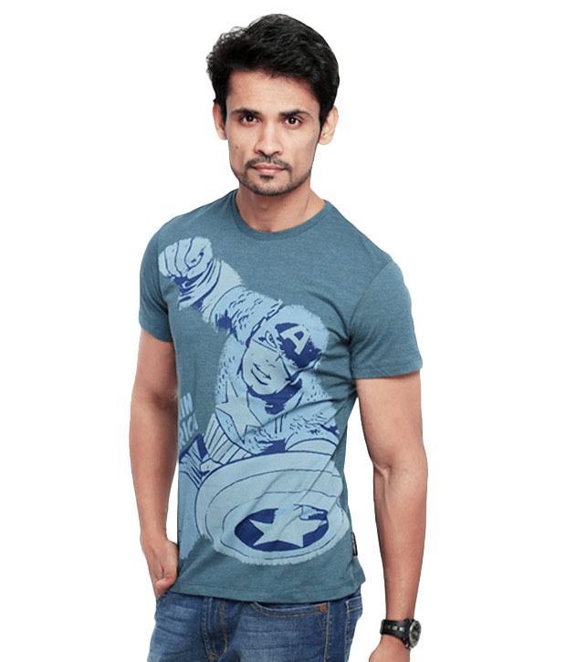 Marvel Mens Blue Cotton Round Neck Half Sleeves T-Shirt