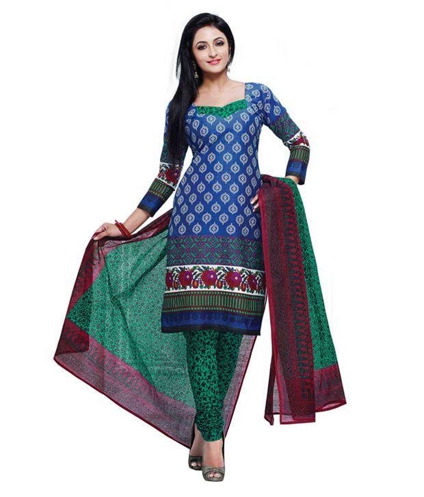 Sampoorna Paridhan Blue Cotton Unstitched Dress Material