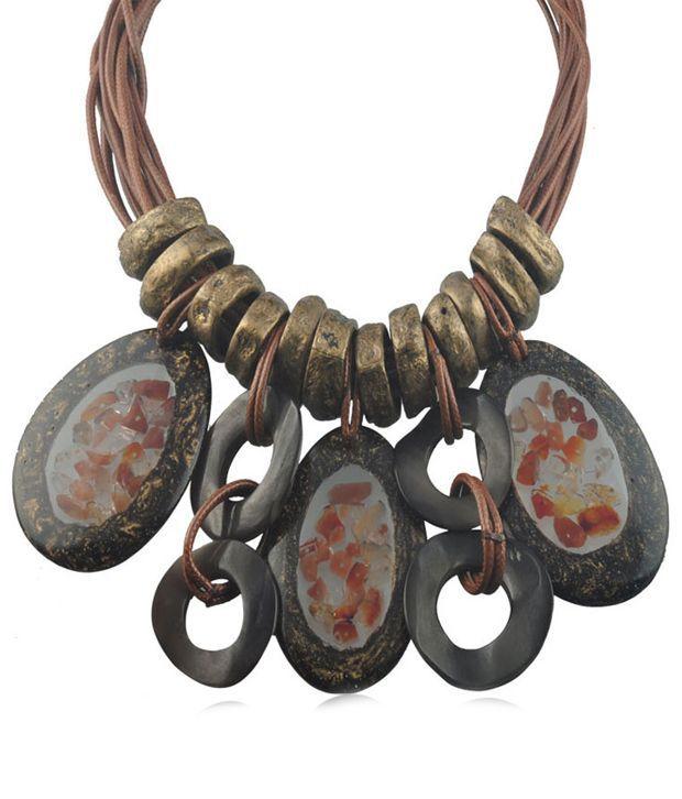 Swanvi Black Tribal Necklace
