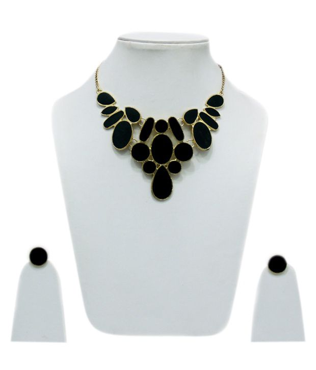 VR Designers Abstract enamelled black necklace set