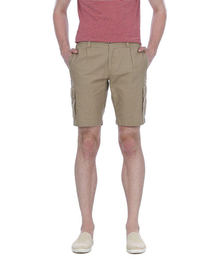 Basics Beige Cotton Shorts