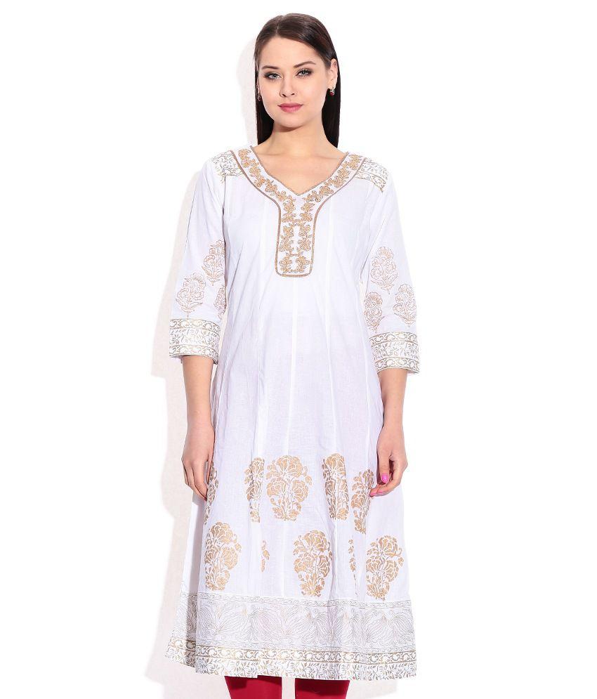 7963e4ca2 Rangriti White Cotton Anarkali Kurti Price in India
