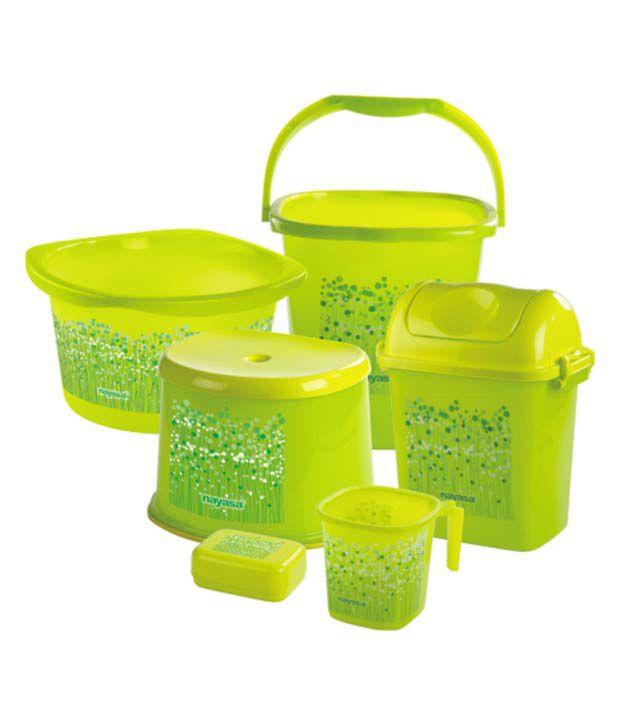 Nayasa Green Virgin Plastic Bathroom Set - Set of 6