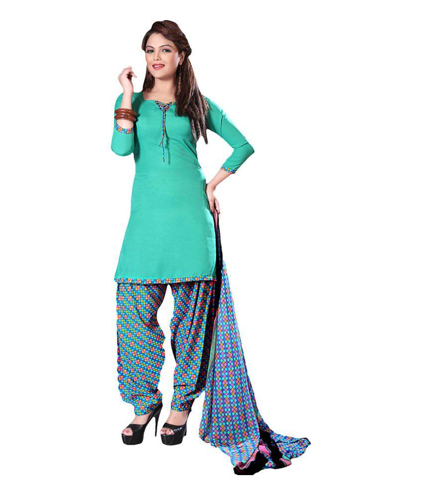 Prachi Turquoise Art Crepe Printed Dress Material
