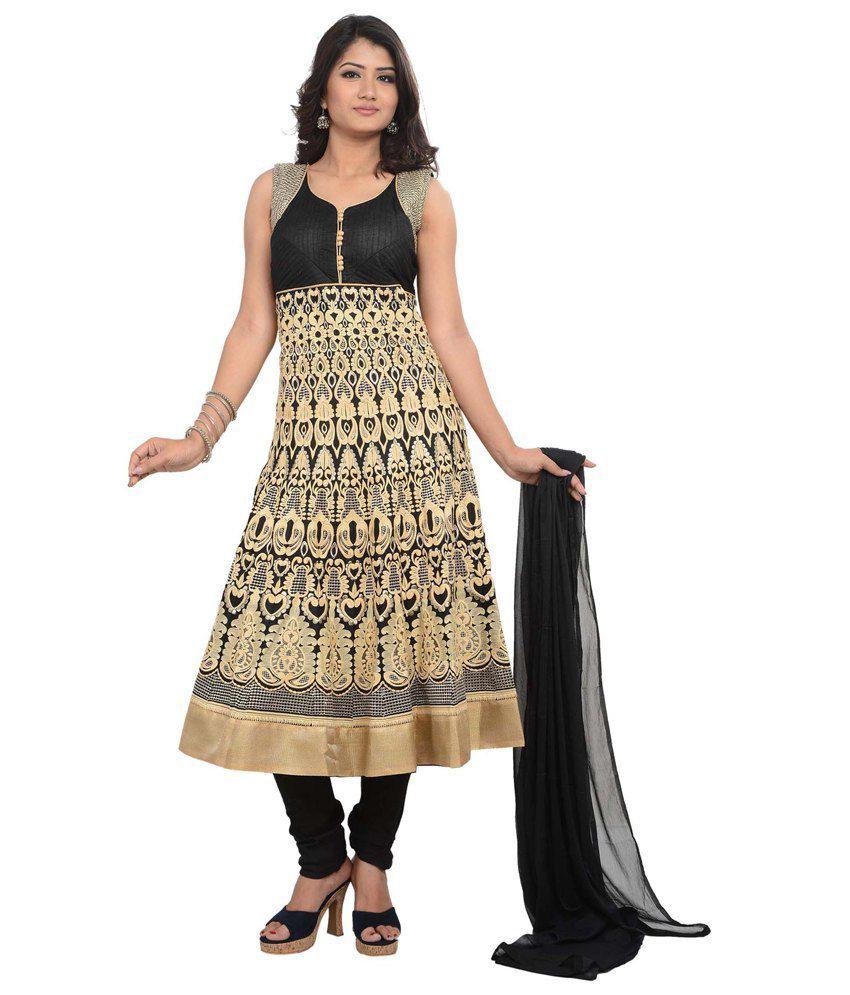 SareesHut Admirable Black Cotton Anarkali Suit