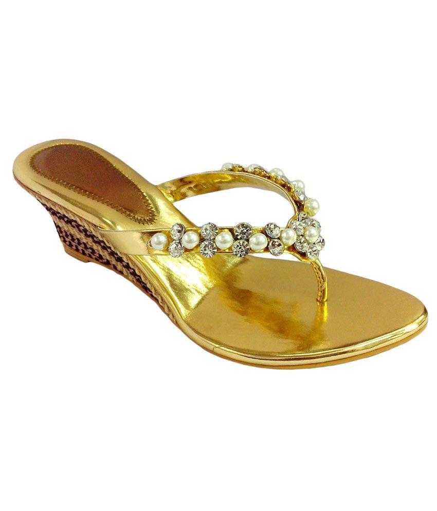 Shoe Centre Gold High Heel Party Wear Sandals