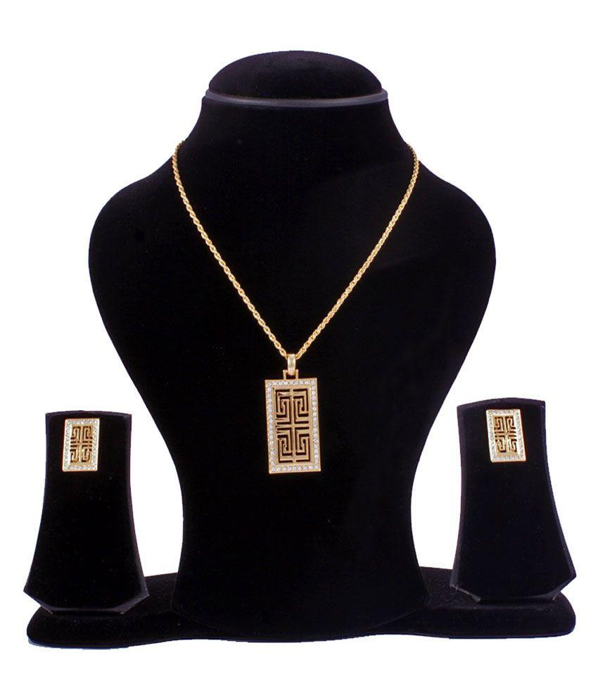 Blissskart Gold Contemporary Rectangular Pendant With Inset Spiral Maze Design And Earrings