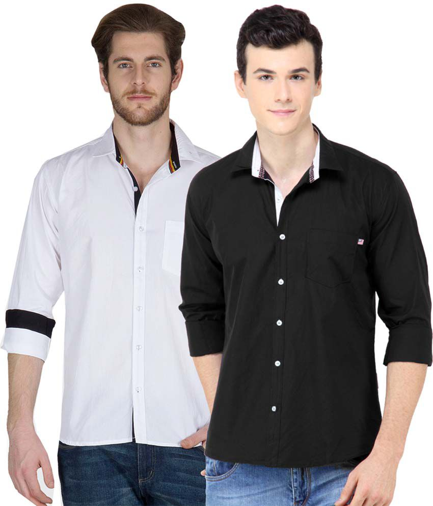 6087a7f0335 Ghpc White Black Cotton Shirts Combo Set Of White And Black - Buy Ghpc  White Black Cotton Shirts Combo Set Of White And Black Online at Best  Prices in India ...