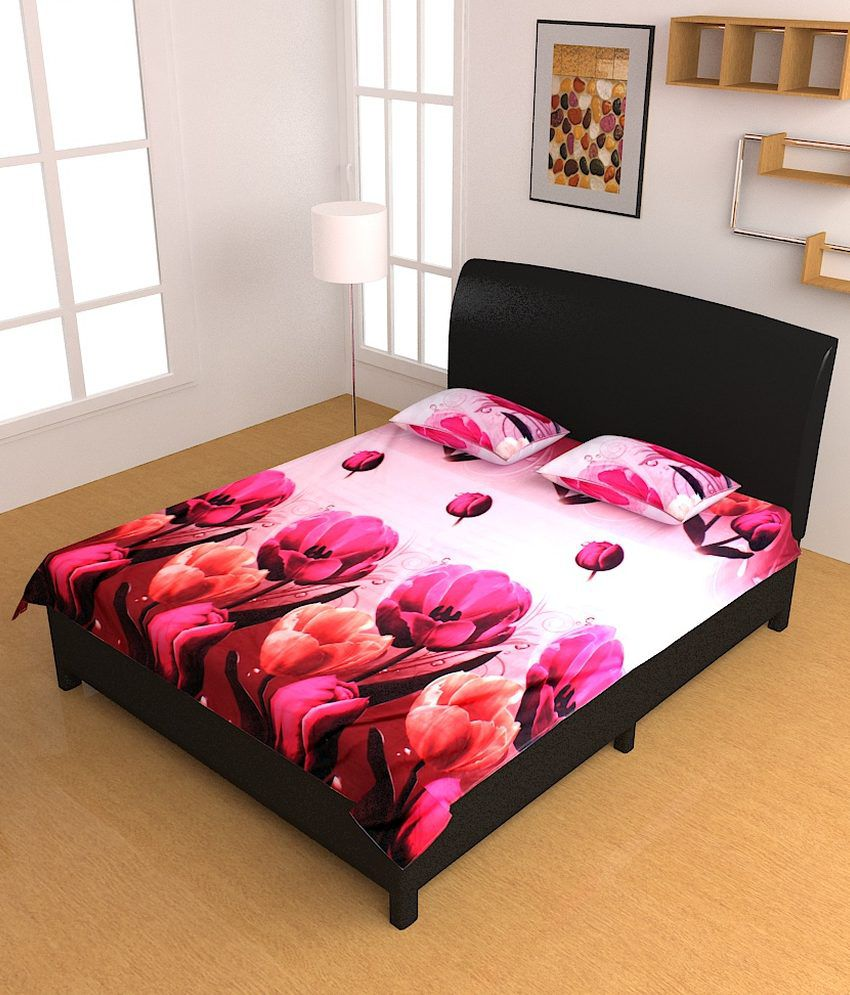 Bed sheets with price - Homefab India Luxury 3d Printed Double Bed Sheet