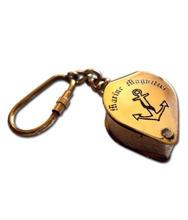 Life In 27 Brass Folding Magnifier Lens Key Chain