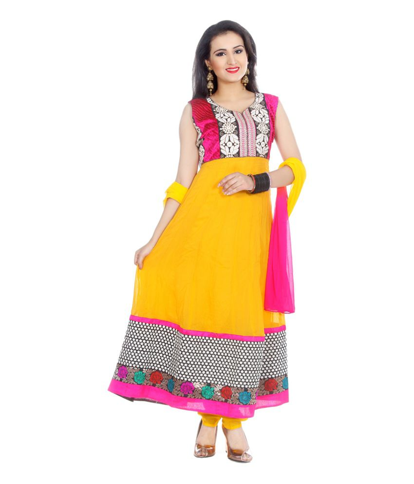 Manavi Circle Yellow Pure Georgette Embroidered Brocade Radiant Anarkali Salwar Suit