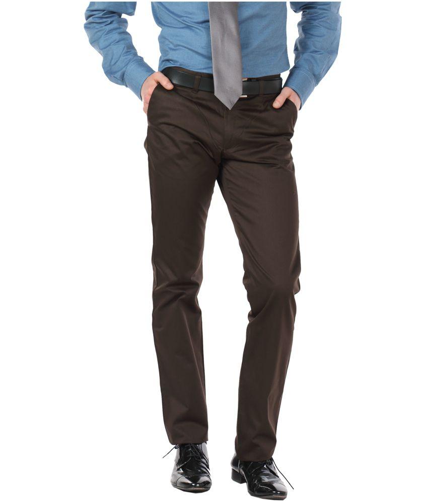 Pierre Colsun Brown Cotton Slim Fit Casual Trouser