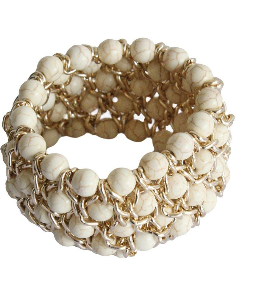 Veinice White Alloy Adjustable Bracelet