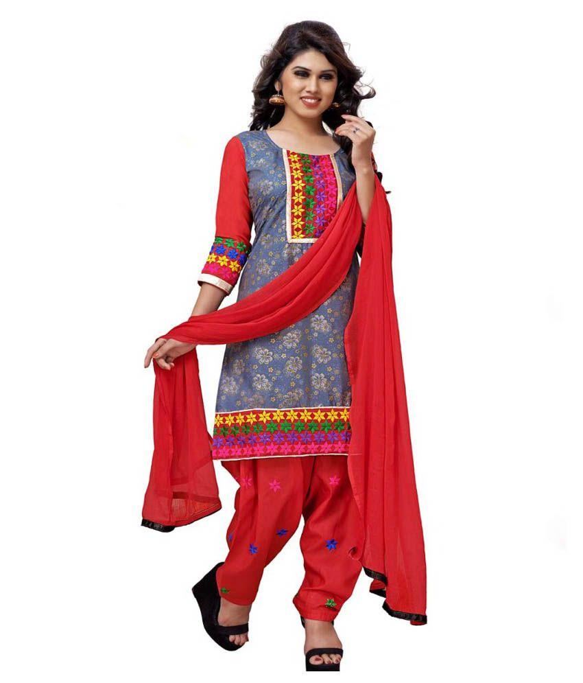 Bridal villa cotton embroidered dress material buy for Wedding dress material online