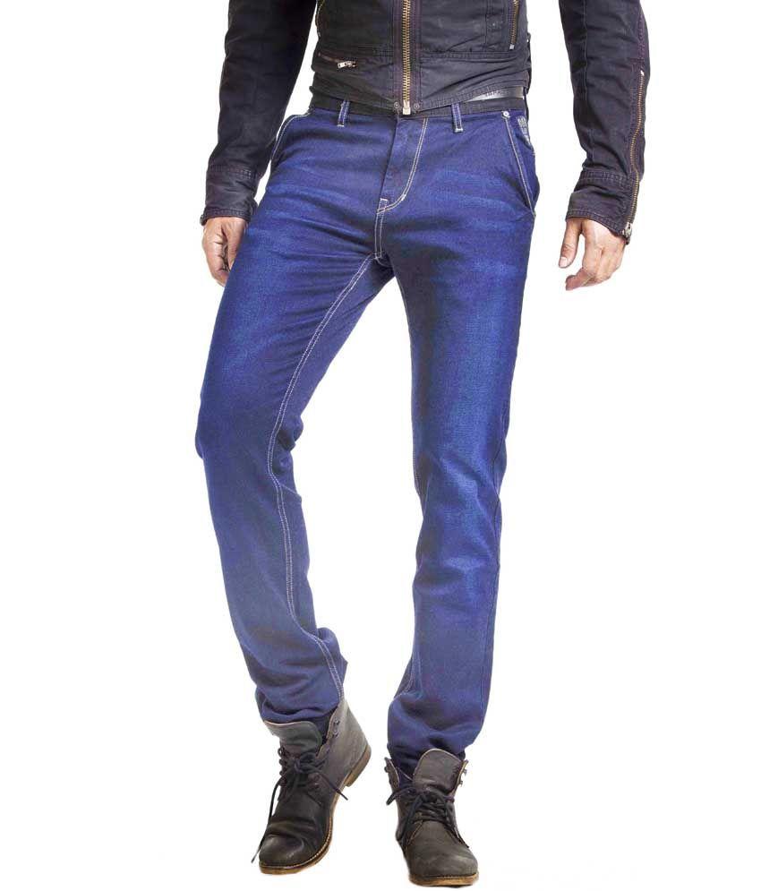 Espada Blue Cotton Slim Fit Basics Jeans For Men