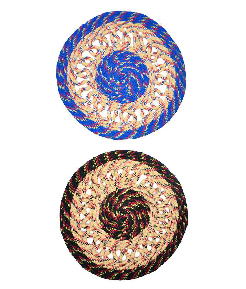 Jbg Home Store Blue & Black Chain Design Round Door Mats (set Of 2)