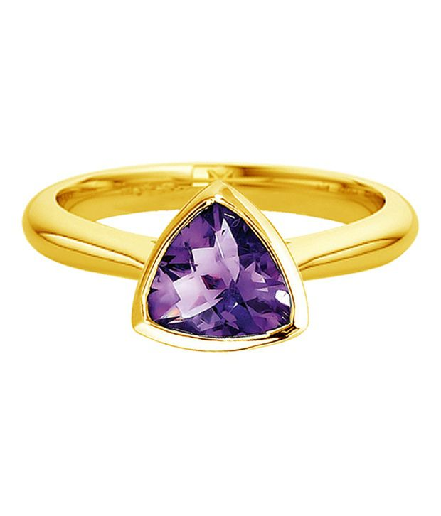 Jacknjewel 14kt Gold Contemporary Trillion Amethyst Ring
