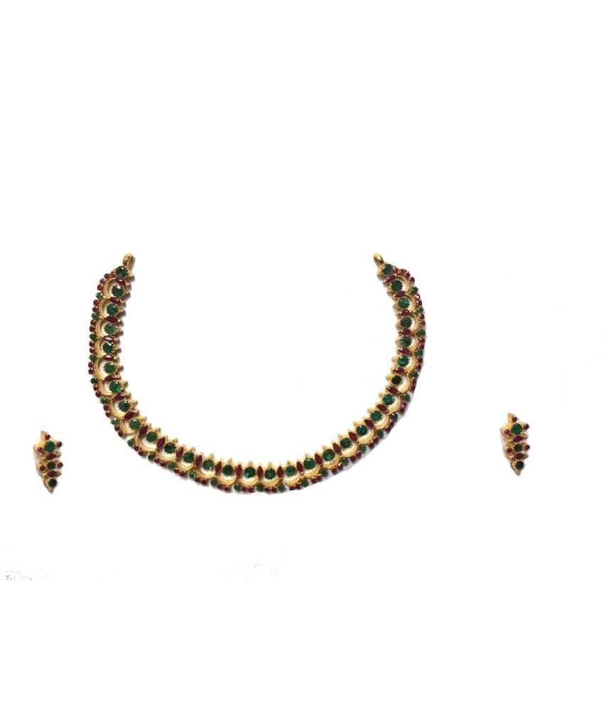 Kataria Jewellers 22KT Hallmarked Gold Colour Spark Necklace Set With Emerald and Ruby