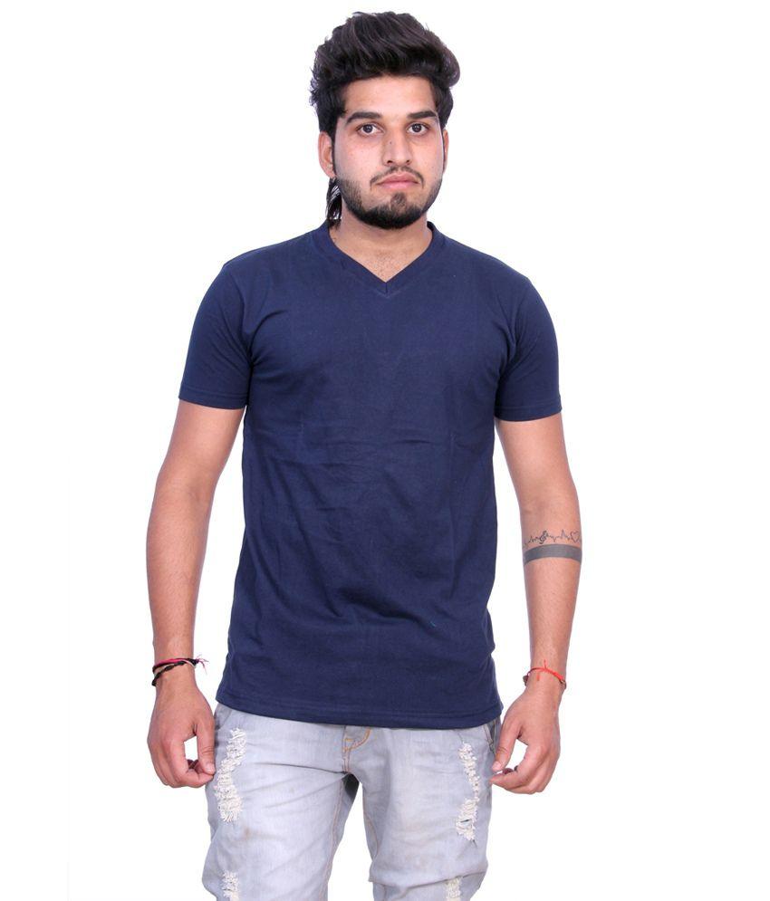 Martech Glamorous Blue Cotton Half Sleeves T Shirt