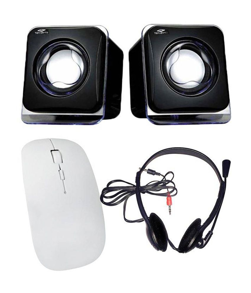 Selfieseven Combo of White Wireless Mouse, Speaker & Headphone With Mic