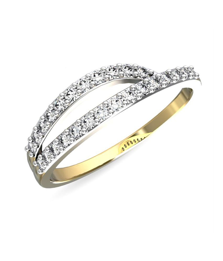 Jewelsforum 14kt Gold Diamond Contemporary Twin Ring