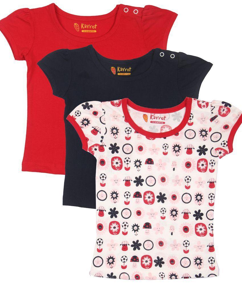 Karrot Stylish Multi-Coloured Half Sleeves T Shirt Combo Of 3 For Kids