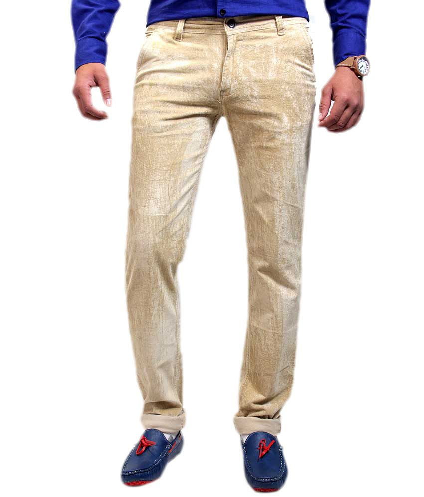 Routeen Beige Cotton Lycra Slim Fit Corduroy Casual Trousers