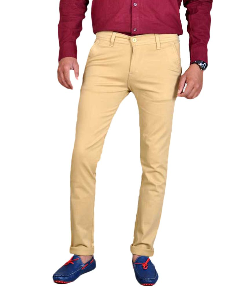 Routeen Khaki Cotton Blend Slim Fit Chinos Casual Trousers