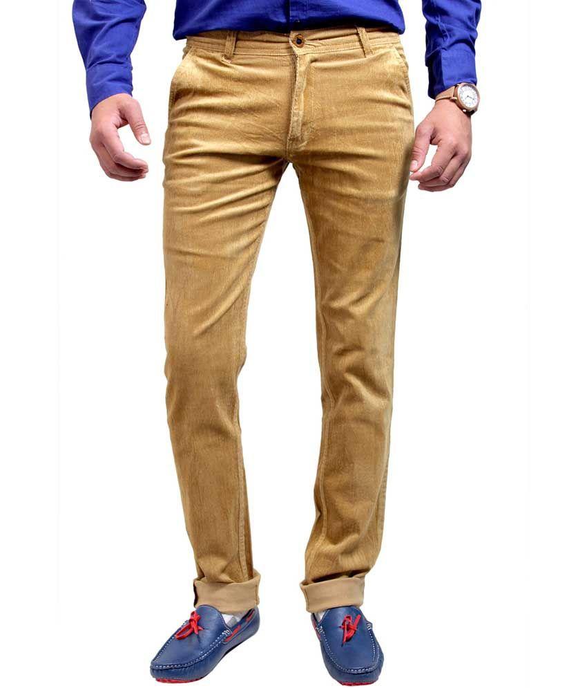 Routeen Khaki Cotton Lycra Slim Fit Corduroy Casual Trousers