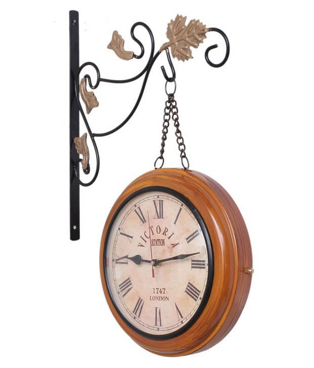 Trendy Ile Mild Steel Brown Two Sides Station Clock