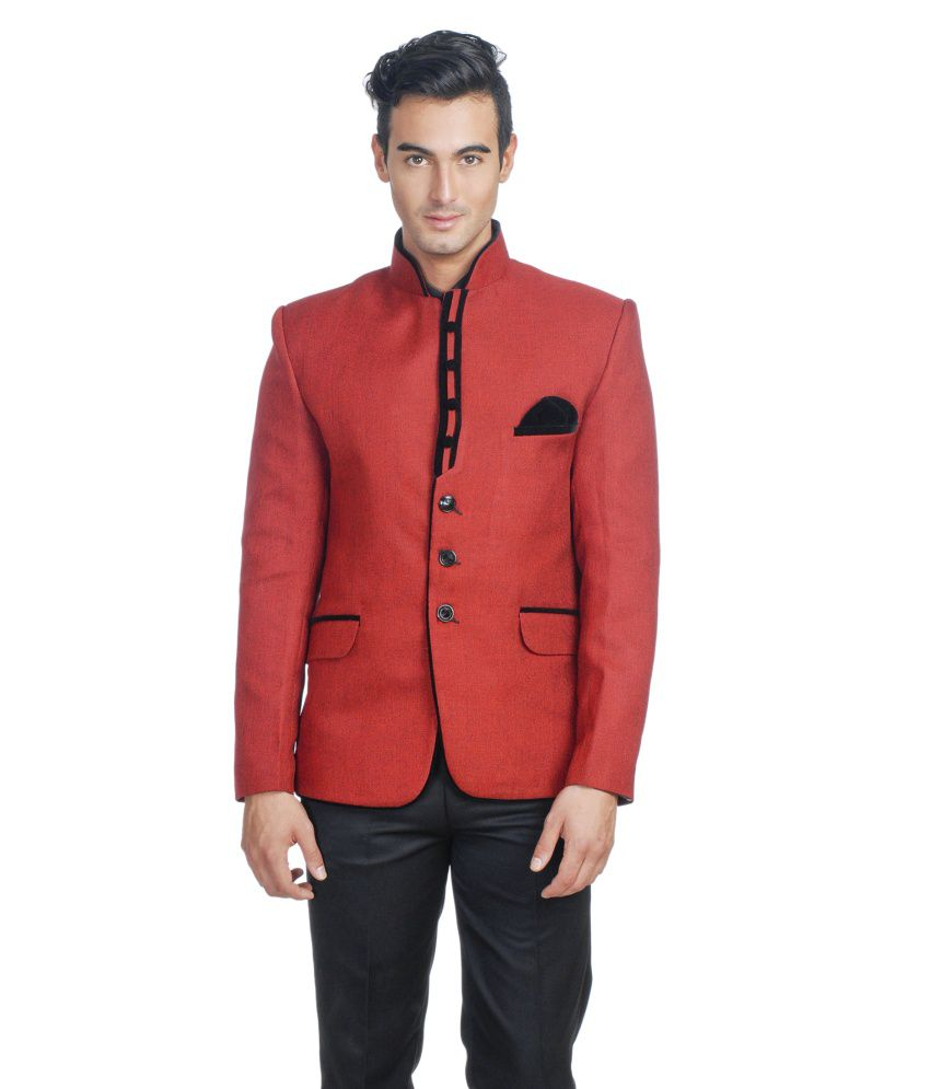 Wintage Red Rayon Party Wear Blazer